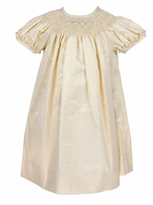 Anavini Couture Baby / Toddler Girls Shimmering Gold Smocked Bishop Party Dress
