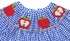 Anavini Baby Girls Smocked Red Apples on Royal Blue Houndstooth Dress