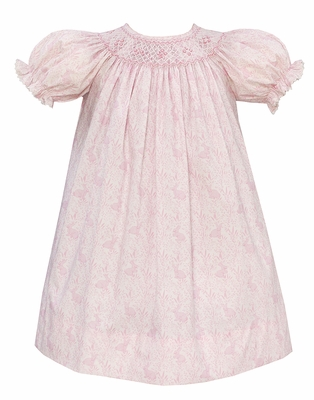 Anavini Baby / Toddler Girls Sweet Pink Easter Bunnies Print Smocked Dress - Bishop