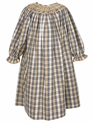 Anavini Baby / Toddler Girls Tan Plaid Geometric Smocked Dress - Long Sleeves