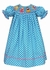 Anavini Baby / Toddler Girls Turquoise Blue / White Dots Smocked Princess Dress