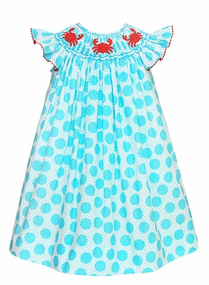 Anavini Baby / Toddler Girls Turquoise Dots Smocked Crabs Bishop Dress