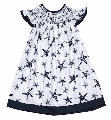 Anavini Baby / Toddler Girls White / Navy Blue Star Fish Smocked Bishop Dress