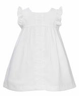 Anavini Baby / Toddler Girls White Pique Dress with Flutter Sleeves and Lace Trim