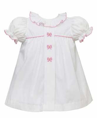 Anavini Baby / Toddler Girls White Poplin Float Dress with Pink Bows