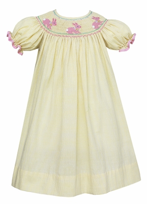 Anavini Baby / Toddler Girls Yellow Seersucker Dress - Smocked Pink Bunnies - Bishop