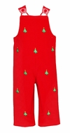 Anavini Baby / Toddler Boys Red Corduroy Embroidered Christmas Trees Longall