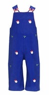Anavini Infant / Toddler Boys Blue Corduroy Embroidered Santa Faces Longall