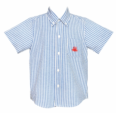 Anavini Boys Blue Striped Button Down Shirt - Embroidered Red Crab