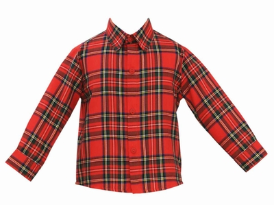 Anavini Boys Classic Red Christmas Plaid Dress Shirt