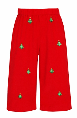 Anavini Boys Embroidered Christmas Trees Pull-On Red Corduroy Pants