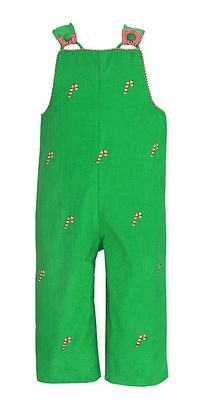 Anavini Baby / Toddler Boys Green Corduroy Embroidered Candy Canes Longall