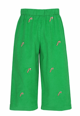 Anavini Boys Green Corduroy Embroidered Candy Canes Pull-on Pants