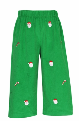 Anavini Boys Green Corduroy / Embroidered Santa Faces Pull On Pants