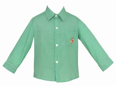Anavini Boys Green Gingham Shirt - Embroidered Christmas Reindeer