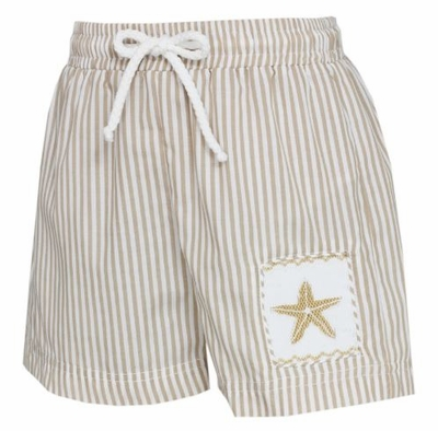 Anavini Boys Khaki Tan Stripes Smocked Starfish Swim Trunks