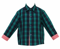 Anavini Boys Navy Blue / Green Blackwatch Plaid Dress Shirt - Red Check Cuffs