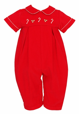 Anavini Baby Boys Red Corduroy Candy Canes Romper