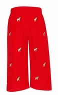 Anavini Boys Red Corduroy / Embroidered Reindeer Pull On Pants