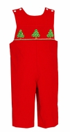 Anavini Baby / Toddler Boys Red Corduroy Longall - Smocked Puffy Christmas Trees