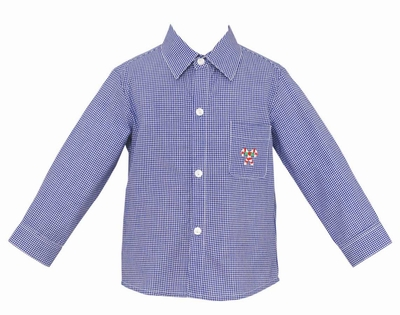 Anavini Boys Royal Blue Gingham Shirt - Embroidered Candy Canes