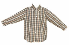 Anavini Boys Tan Plaid Button Down Shirt