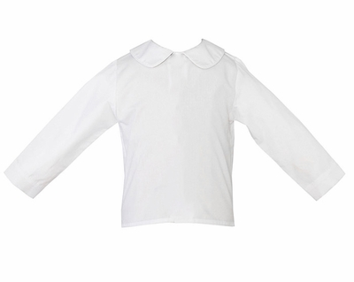 Anavini Boys White Piped Dress Shirt with Collar - Long Sleeves