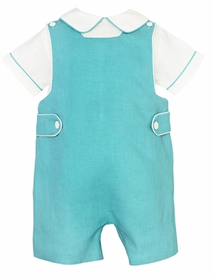 Anavini Couture Baby / Toddler Boys Aqua Linen Shortall with Shirt