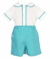 Anavini Couture Baby / Toddler Boys Dressy Aqua Linen Shorts Set