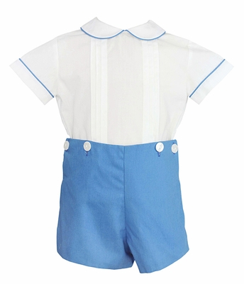 Anavini Couture Baby / Toddler Boys French Blue Dressy Shorts Set