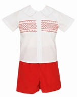 Anavini Couture Baby / Toddler Boys Smocked Red Christmas Short Set