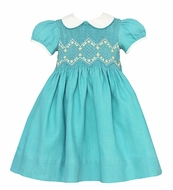 Anavini Couture Baby / Toddler Girls Aqua Linen Smocked Bodice Dress with Collar