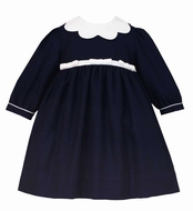 Anavini Couture Baby / Toddler Girls Navy Blue Twill Float Dress with Scallop Collar