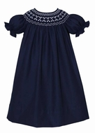Anavini Couture Baby / Toddler Girls Navy Blue Twill Smocked Bishop Dress