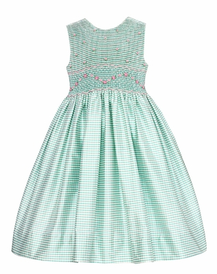 Anavini  Girls Aqua Check Silk Smocked Bodice Sleeveless Dress - V Back and Sash