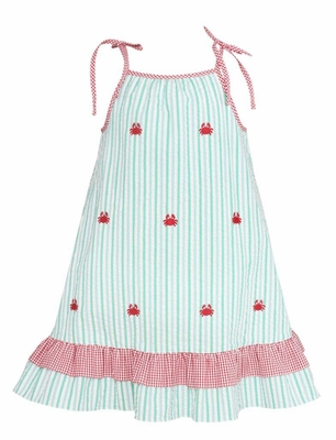 Anavini Girls Aqua Striped Embroidered Crabs Dress with Ties