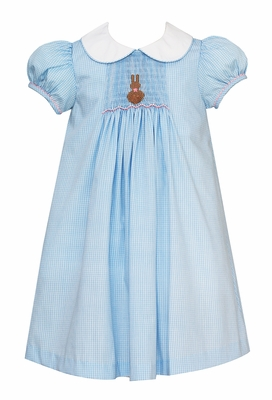 Anavini Velani Girls Blue Check Smocked Chocolate Easter Bunny Dress - White Collar