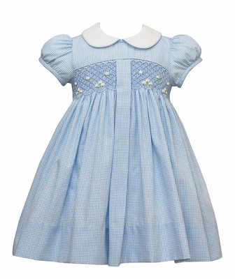 Anavini Girls Blue Check Smocked Pleat Dress with Collar