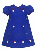 Anavini Girls Royal Blue Corduroy Santa Faces Embroidery Float Dress
