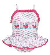 Anavini Girls Blue / Pink Dots Smocked Pink Whales Ruffle Swimsuit - One Piece
