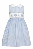 Anavini Girls Blue Stripe Smocked Sea Shells Sleeveless Dress with Collar