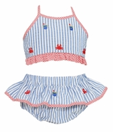 Anavini Girls Blue Striped Embroidered Crabs Ruffle Swimsuit - Two Piece