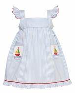 Anavini Girls Blue Striped Flutter Sleeve Dress with Smocked Sailboat Pockets