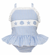 Anavini Girls Blue Striped Smocked Sea Shells Ruffle Swimsuit - One Piece