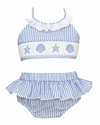 Anavini Girls Blue Striped Smocked Sea Shells Swimsuit - Two Piece
