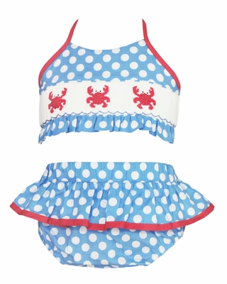 Anavini Girls Blue / White Dots Smocked Crabs Swimsuit - Two Piece