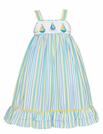Anavini Girls Blue / Yellow Striped Smocked Sailboats Ruffle Dress