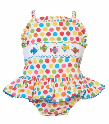 Anavini Velani Girls Colorful Dots Smocked Fish Ruffle Swimsuit - One Piece