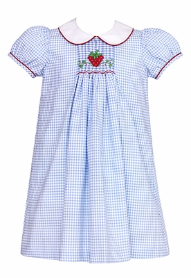 Anavini Girls French Blue Check Float Dress with Collar - Smocked Strawberry