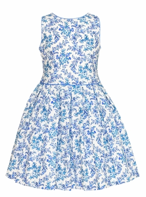 Anavini Girls French Blue Floral Toile Sleeveless Dress with Pleated Skirt